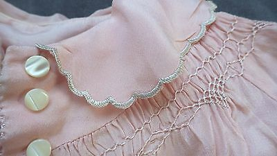 Vintage Antique PINK SILK Charmeuse BABY COAT,Smocking & Embroidery, Christening
