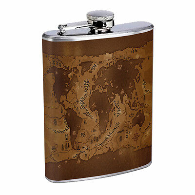 Vintage World Maps D10 8oz Hip Flask Stainless Steel Travel Countries