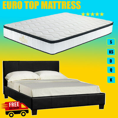 Brand New PU Leather Bed Frame & Pillow Top Mattress - Single/Double/Queen/King