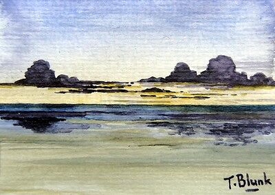 ORIGINAL AQUARELL - Abendstimmung am Meer.