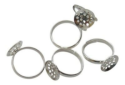 ❤ 4 x Silver Plated Adjustable RING BLANKS 12mm SIEVE Jewellery Making ❤