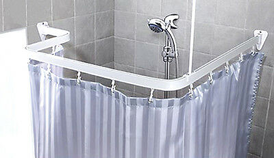 Track Chrome & White Fixed & Flexible Over Bath Shower Curtain Rail, Curtains