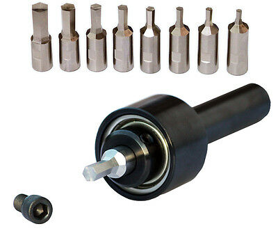 "Rotary Broaching Kit - 8 Hexagon Rotary Broaches & 1"" Shank Holder Made in USA"