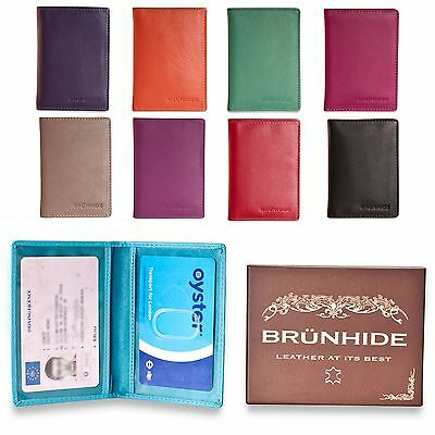 Brunhide Real cuero tarjeta titular Oyster Travel Pass Bus carril ID Wallet