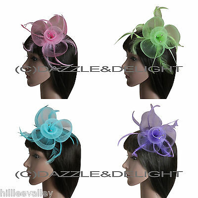 Flower Fascinator On Comb Netting Fascinator Feathers Diamante Wedding Races