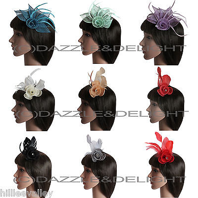 Flower Fascinator On Beak Clip Feathers Wedding Races Prom Party Hair Clip