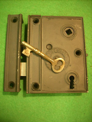 1863  NORWALK LOCK CO RIM LOCK w/KEY & KEEPER - VERY NICE  (2716-9)