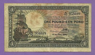 "[AN] South Africa 1 Pound 1935 Early Date P84c ""Galleon ship"" Fine+"