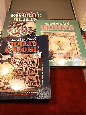 "Lot Of Quilting Books ""Quick-Method Quilts, Galore, Favorite"" 3 Books Total, Vgc"