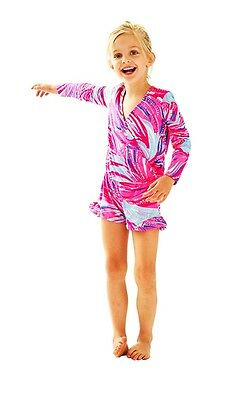 Lilly Pulitzer Girls NWT Mini Fanning Romper in Magenta Oh My Guava $48