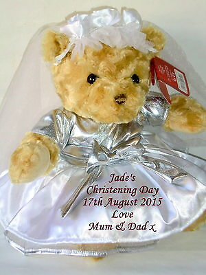 Personalised Christening Teddy Bear Holy Communion Baptism Dedication Gift 15""