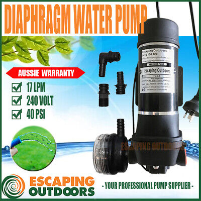 240 volt Diaphragm Water Pressure Pump 17 lpm 40PSI Shed Cabin Coffee Cart Farm