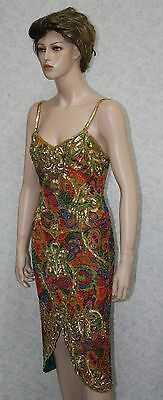 Jasdee Vintage Beaded & Sequins Dress Hand Work & Hand Print On Silk Style 5034L