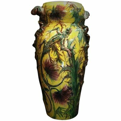 French Art Nouveau Majolica Vase with Thistles and Lizards, circa 1900