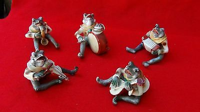 Occuped Japan Set Of 5 Rare Porcelain Frog Band Musicians Figurines ,marked
