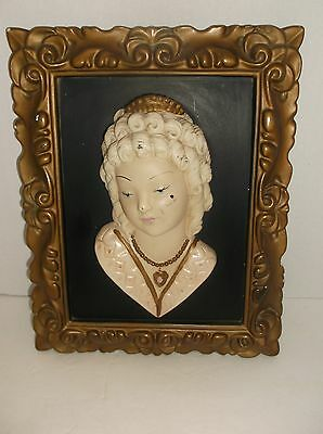Antique Vintage Hanging Victorian Bust Wall Art Ceramic Wall