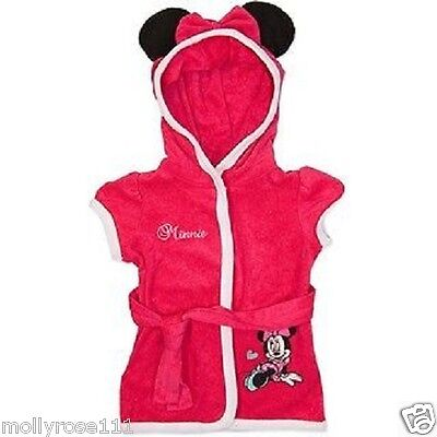 Baby Girls Disney Hot Pink Minnie Mouse Short Sleeve Terry Dressing Gown