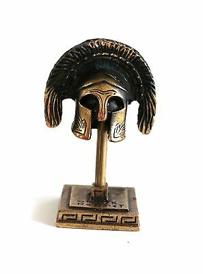 ANCIENT GREEK ZAMAC MINIATURE SPARTAN ARISTOCRAT HELMET ON A STAND bronze