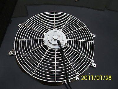 16 INCH 12v LOW PROFILE CHROME  HIGH PERFORMANCE THERMO FAN