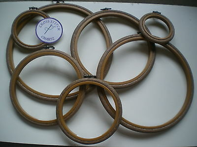 "Flexi Hoop WOODGRAIN Effect Pick Size 2.5"" 3"" 4"" 5"" 6"" 7"" 8"" 10"" Cross Stitch"