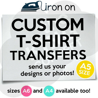 Custom Iron On T-Shirt A5 Transfer Your Image Photo Design Personalised Hen Stag