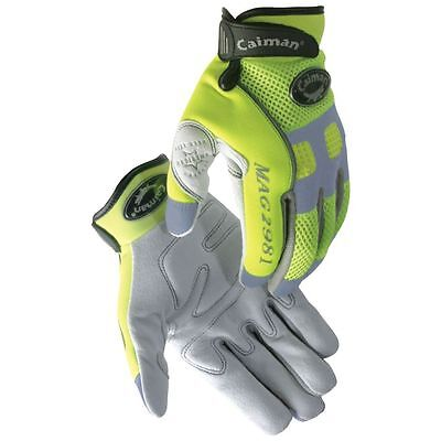 Caiman 2981 Genuine Deer Skin Hi-Viz Mechanic Gloves with Reflective Trim -Large