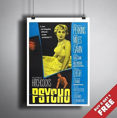 PSYCHO 1960 MOVIE POSTER A3 A4 Alfred Hitchcock Best Horror Thriller Film Print