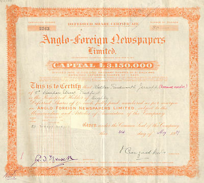 Anglo-Foreign Newspapers Limited    England 1929 stock certificate