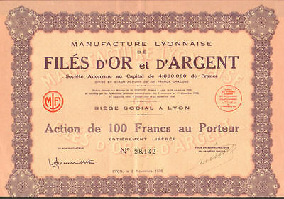 Lyon Manufacturer of Gold and Silver    1936 Lyon France bond certificate