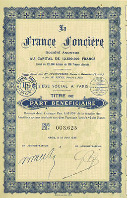 La France Fonciere Company  > 1936 Paris France bond certificate
