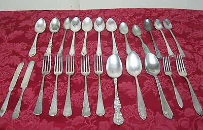 Vintage 24 Pc Lot Mixed Silver Plate Rogers Wallace Reed Fork Spoon Flatware ✞