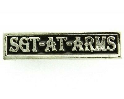 "(#038) SGT AT ARMS Silver-plated Pewter Vest / Hat CLUB Pin 1.75"" x 0.5"" Biker"