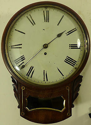 Antique mahogany drop dial fusee wall clock Circa 1860 in good working order