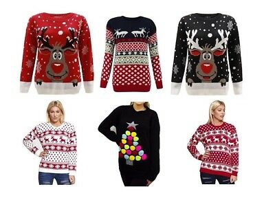 Ladies Womens Xmas Christmas Novelty Jumpers Sweater Rudolph Top Plus SIZE 8-24