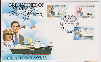(H3-37) 1981 St Vincent FDC 3stamps royal wedding (AF)