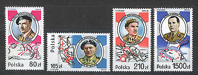 POLONIA/POLAND 1989 MNH SC.2906/2907a+2968 1st.Armored Division,W.W.II