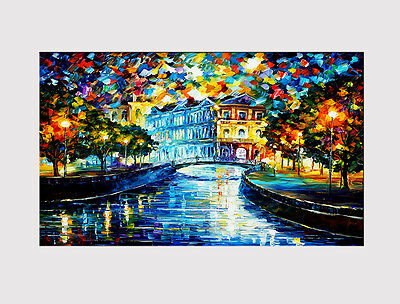 50 NEW LARGE CANVAS  WALL ART ABSTRACTION CITY CANAL LIVING ROOM Print picture