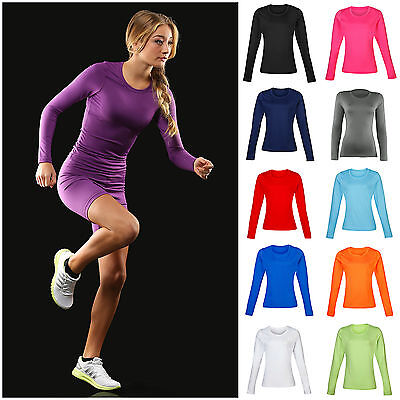 Ladies Womens Base Layer Long Sleeve Compression Armour Top Thermal Gym Sports