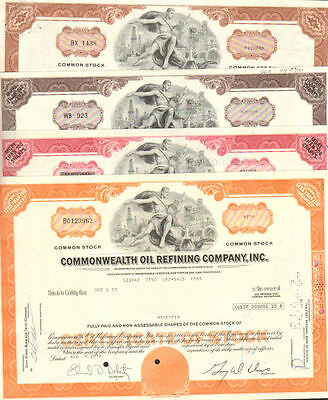Set of 4 Puerto Rico stock certificates   Commonwealth Oil Refining Company