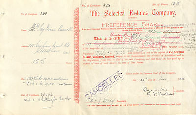The Selected Estates Company > 1936 England stock Barclays Bank certificate