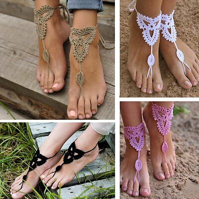 d3a5dc4db23 New Crochet Barefoot Sandals Beach Wedding Bridal Anklet Foot Jewelry  Bracelet