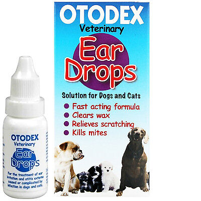 Veterinary Dog Ear Drops OTODEX 14 ml Wax Removal Mites Cleaner for Cats Dogs