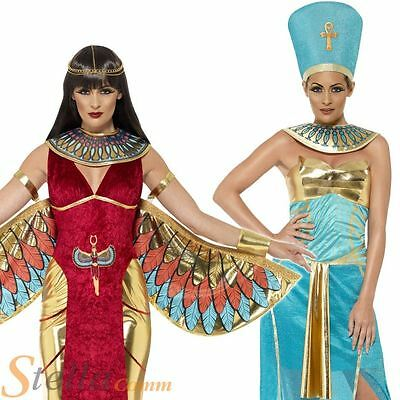 Ladies Egyptian Goddess Costume Queen Halloween Fancy Dress Egypt Adult Outfit
