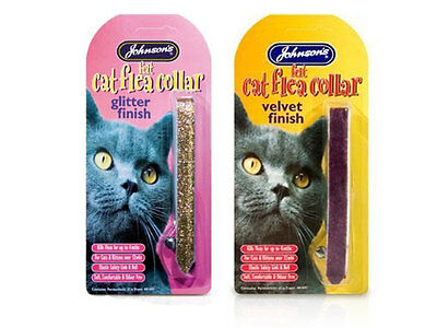Johnson's felt Flea Collar for cats, Glitter/Velvet/Refective, assorted colours