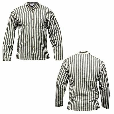 Shopoholic Fashion Striped Thick Cotton Hippy Grandad Shirt