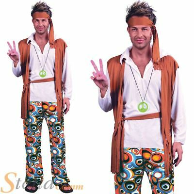 Mens Adult Hippy Hippie Fancy Dress Costume Outfit 60s 70s Woodstock