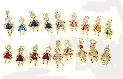 Colored Stone Girl Child Charms, Wholesale Lot of 18 Kids in 14kt. Yellow Gold