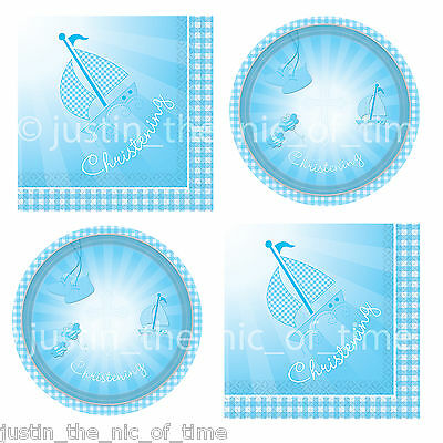 """Christening Booties Boy Blue Party Tableware Supplies 9"""" Plates & Napkins"""
