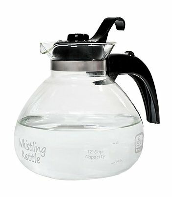 Medelco 12-Cup Glass Stovetop Whistling Kettle MODEL NO. 1-WK112-BL-4 AOI