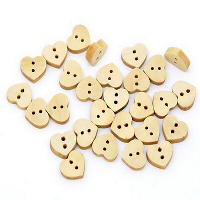 100PCs New 2 Hole Wood Sewing Buttons Scrapbooking 13x11mm
